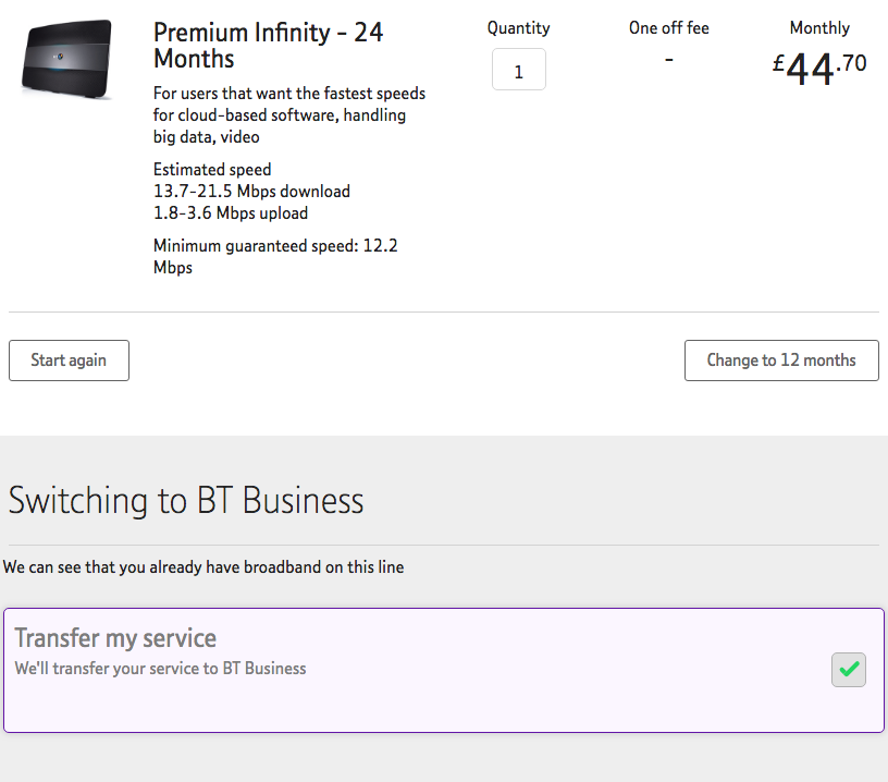 BT Fibre checker transfer existing service
