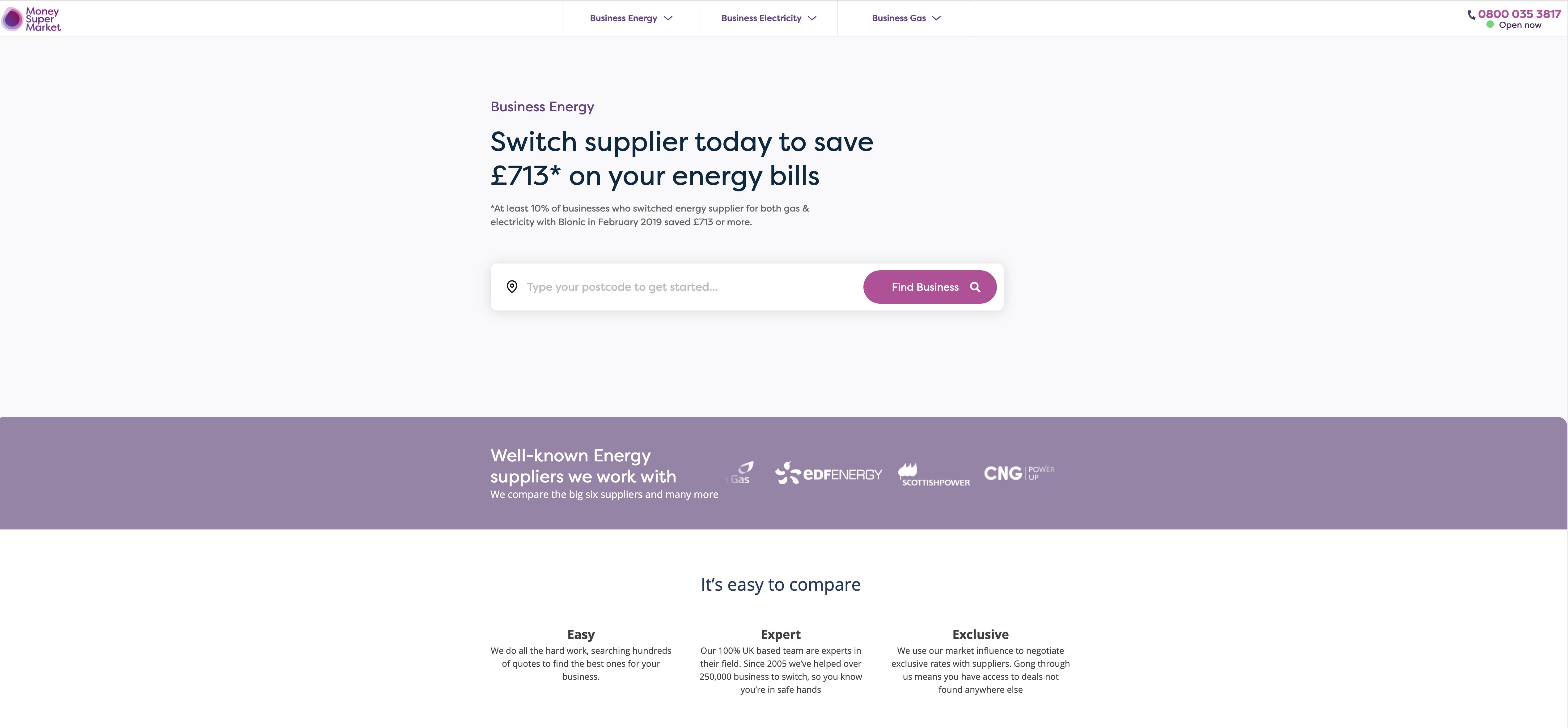 moneysupermarket business energy comparison site