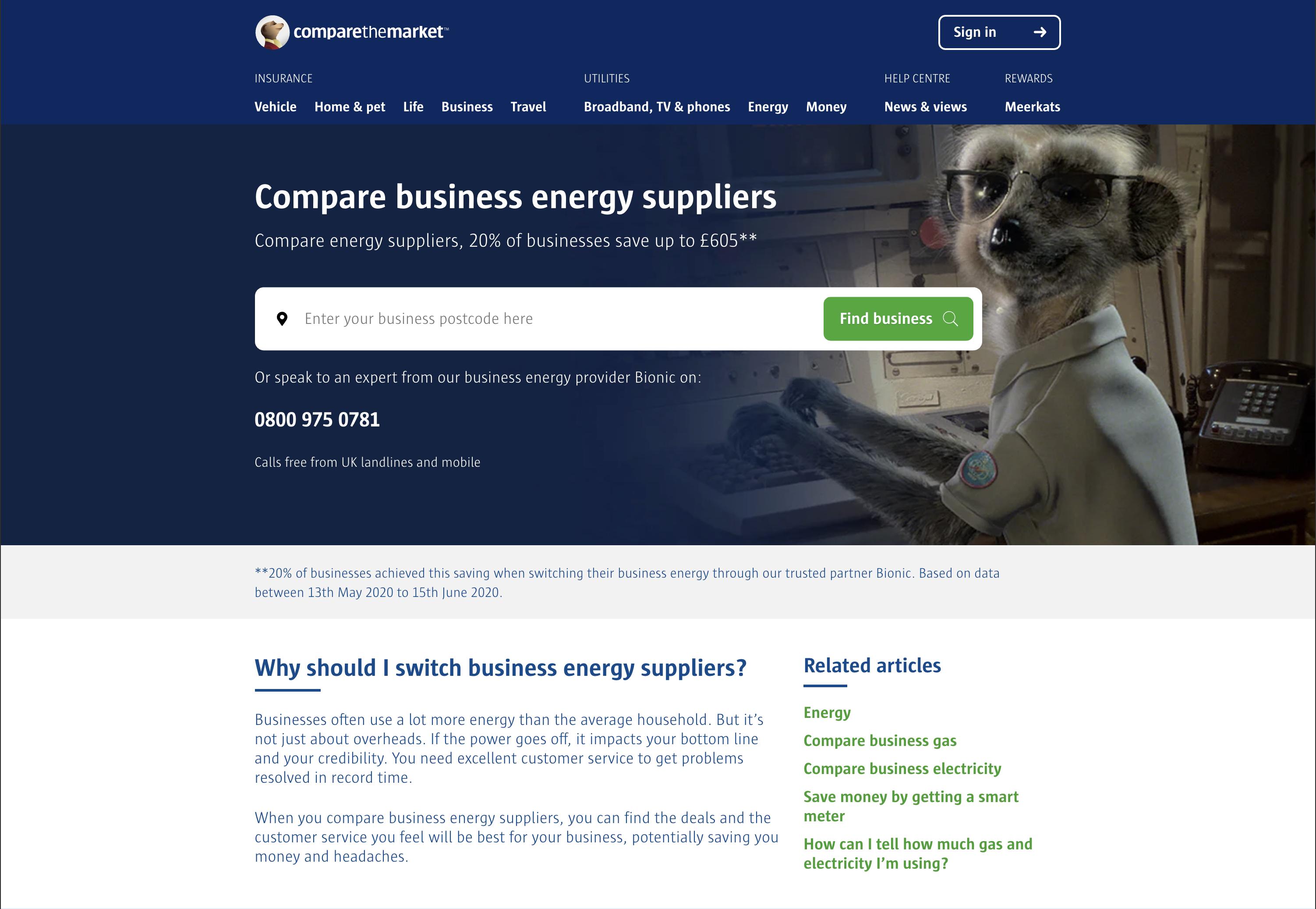 compare the market business energy comparison site