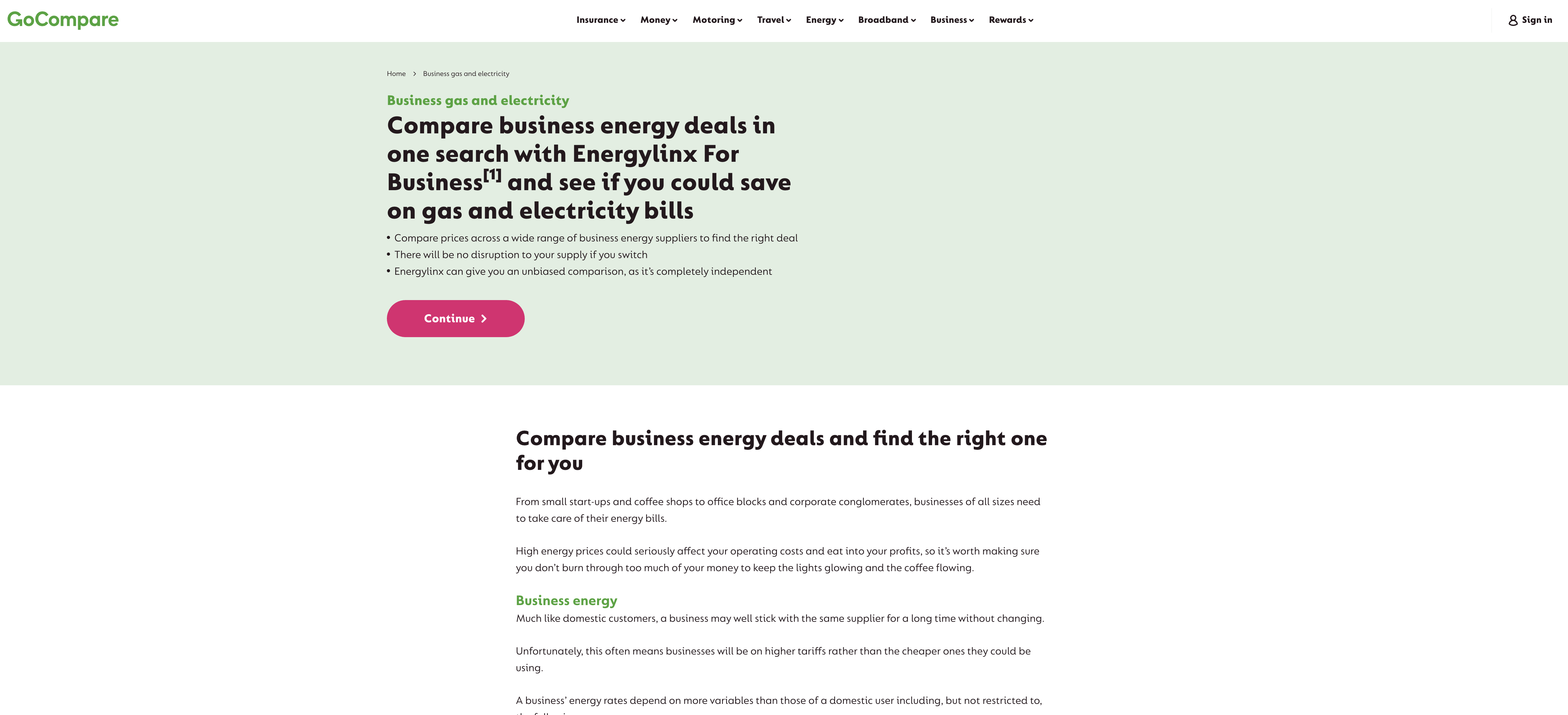 go compare business energy comparison site